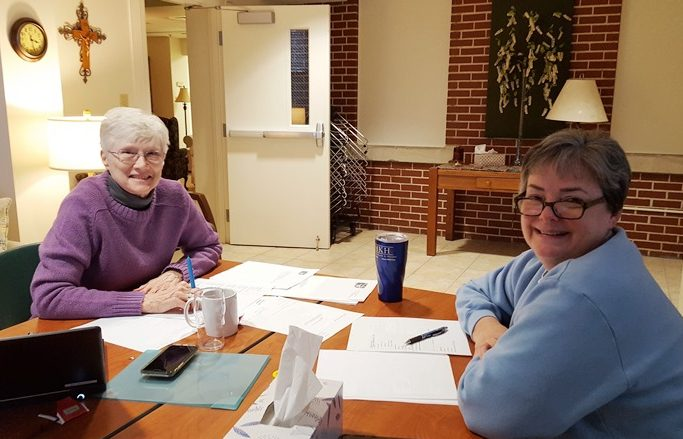 Sister Mary Colleen and Sister Karen Ann meet to plan for NADI