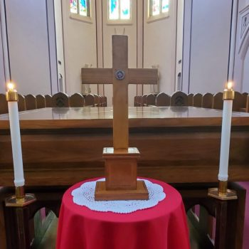 Holy Cross relic in stand before the altar