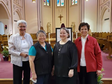 The Election Secretary and Tellers with the Prioress-Elect.