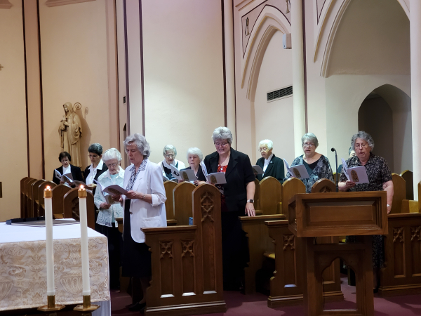 The Sisters during the opening hymn, with social-distancing in the choir stalls.