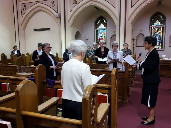 During the Rite of Installation, Sr. Tonette asks Sr. Elisabeth if she is willing to accept the call to serve as Prioress.