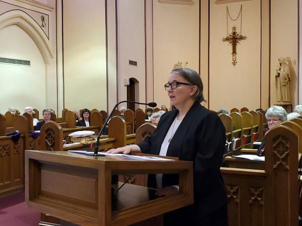 Sr. Elisabeth offered remarks after Mass.