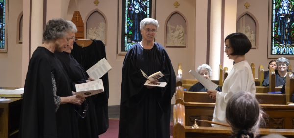 Sister Michelle reads her profession document