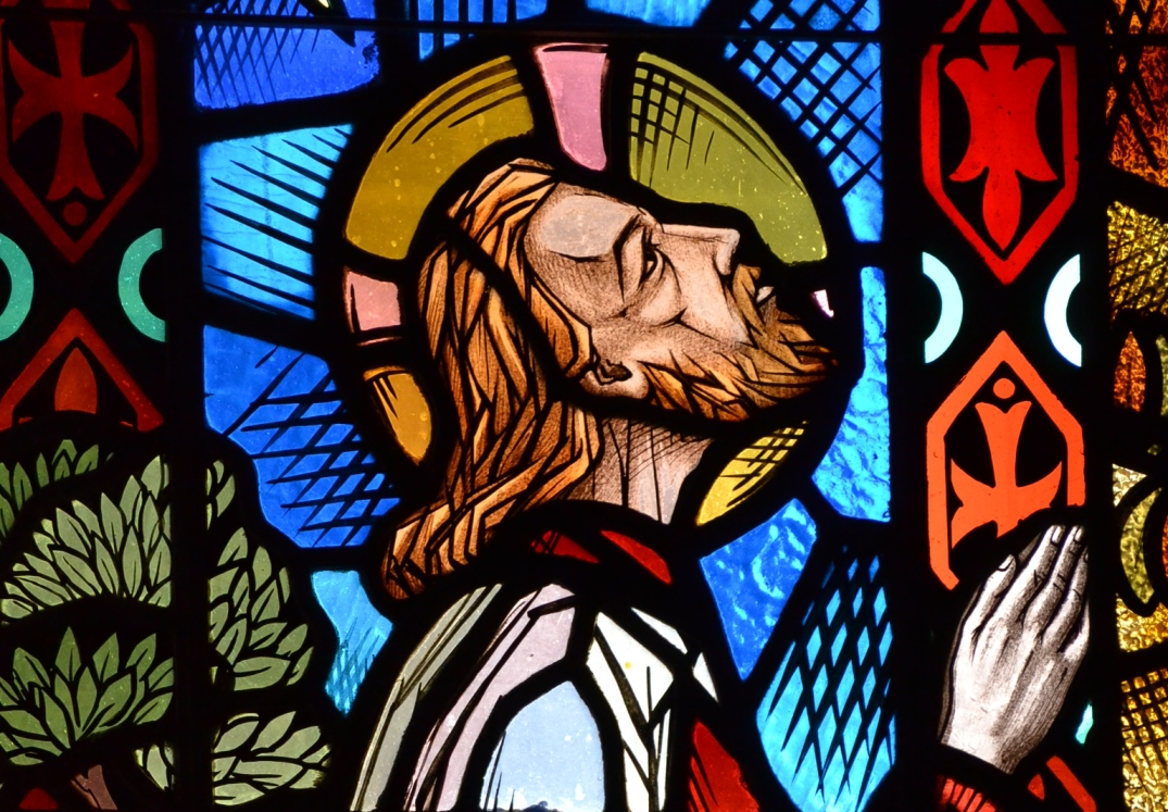 Agony in the Garden stained glass detail