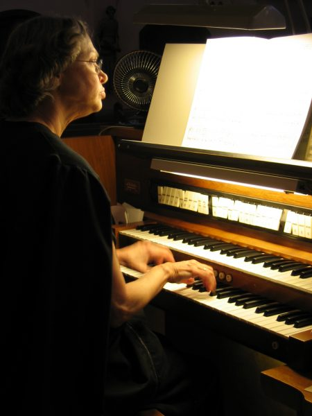 Sister Magdalena playing the organ