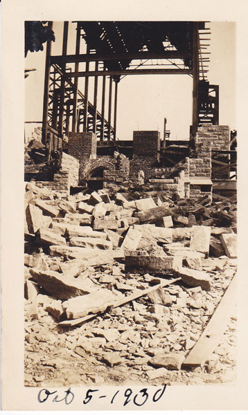 Chapel construction Oct 1930 using locally quarried stone