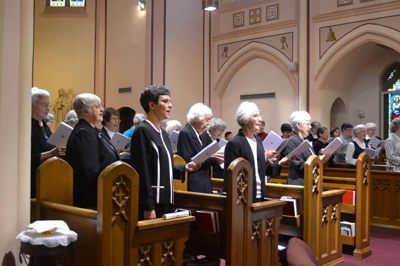 Community in choir stalls