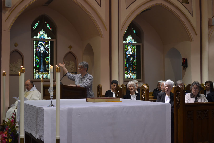 Sister Therese cantors Responsorial Psalm during a Jubilee celebration