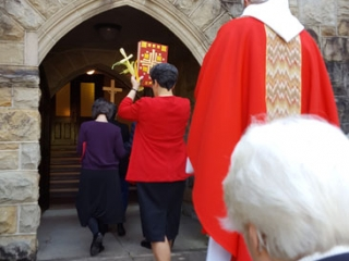 The lower entrance is used for processions such as on Palm Sunday, funerals, and the Easter Vigil