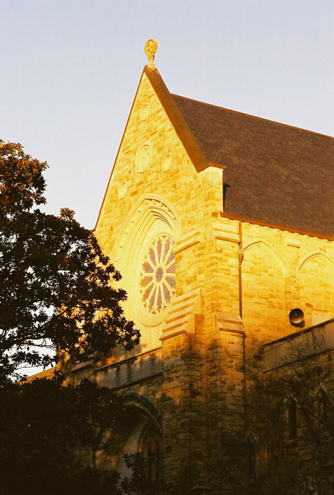 The chapel in a golden sunset.