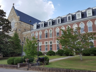 The chapel was constructed on the north end of Ottilia Hall. Prior to that time, the Sisters used a temporary chapel on the second floor of Ottilia Hall.