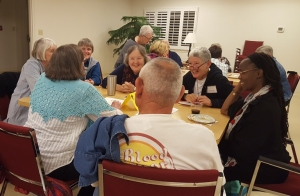 Oblate sharing during their annual retreat