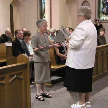 Sister Brigid renewing her profession at her 25th Jubilee celebration