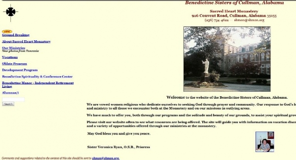 Screen shot of earlier home page version
