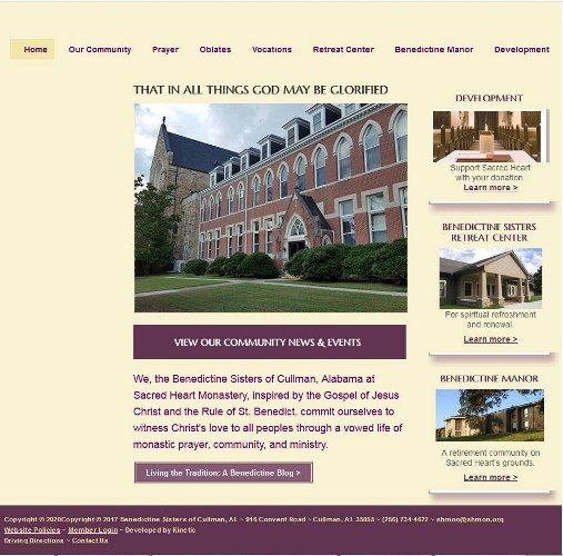 Screen shot of former webpage design