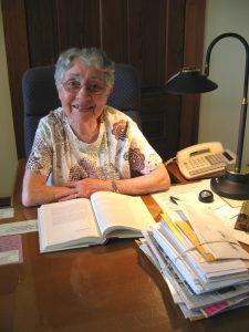 Sister Brigid serving on phone duty