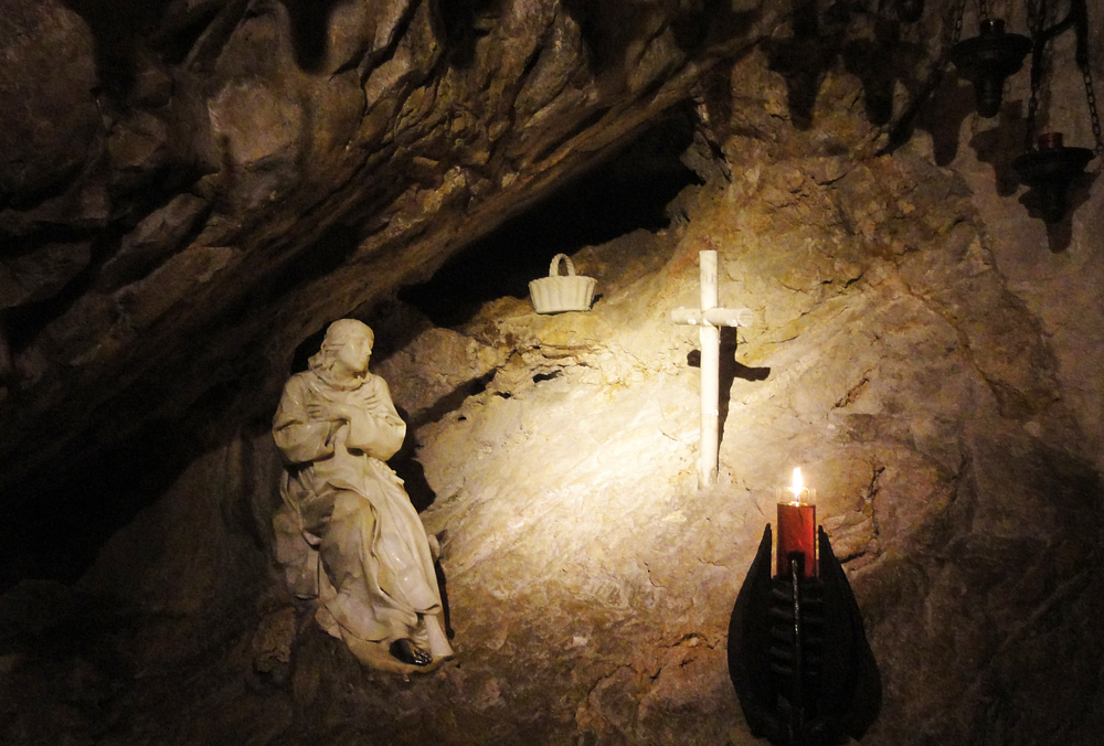 St. Benedict in his cave at Subiaco, Italy
