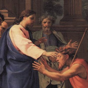 """An oil painting by Eustache Le Sueur with the name """"Jesus heals the blind man"""""""