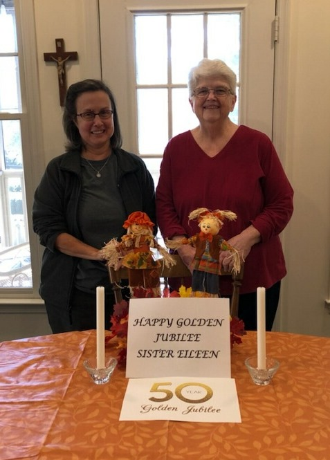 Sisters Michelle Renee and Janet Marie celebrate from their mission house, unable to attend due to the pandemic