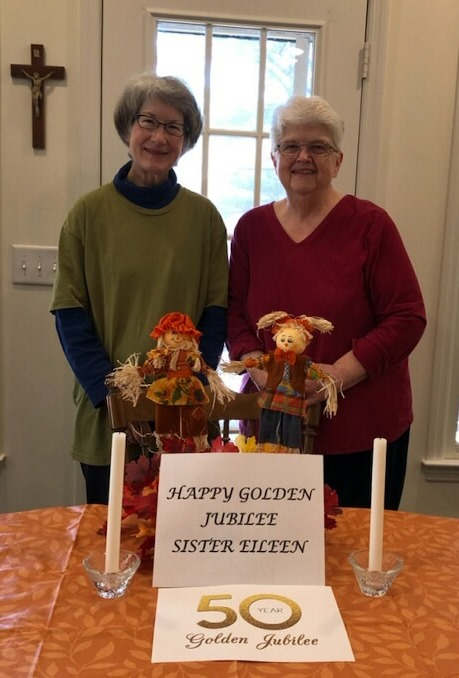 Sisters Sara Aiden and Janet Marie celebrate from their mission house, unable to attend due to the pandemic